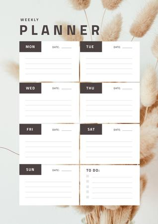 Weekly Planner on Decorative Flowers Schedule Plannerデザインテンプレート