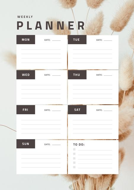 Weekly Planner on Decorative Flowers Schedule Planner Design Template