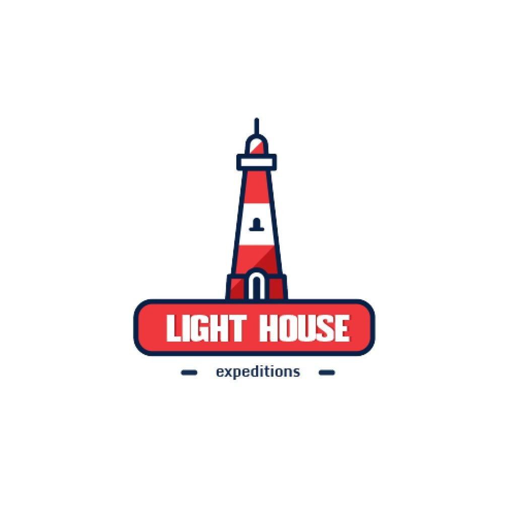 Travel Expeditions Offer Lighthouse in Red — Modelo de projeto