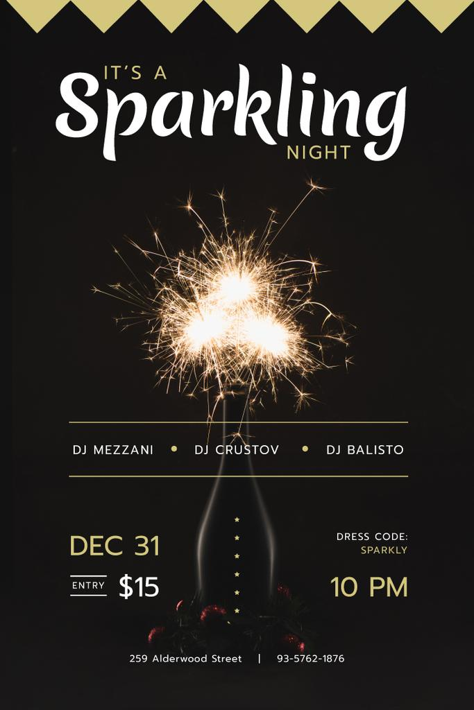 New Year Party Invitation with Burning Sparklers — Create a Design