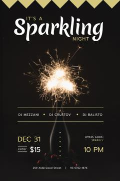 New Year Party Invitation Burning Sparklers