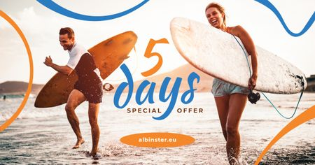 Ontwerpsjabloon van Facebook AD van Special Offer Surfers at the Beach with Boards