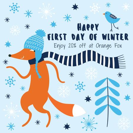 First Day of Winter Greeting with cute Fox Instagram ADデザインテンプレート