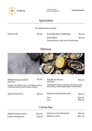 Seafood Restaurant Promotion with Oysters and Lemon Menu Tasarım Şablonu