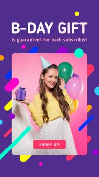 Birthday Celebration Girl with Gift and Balloons | Stories Template