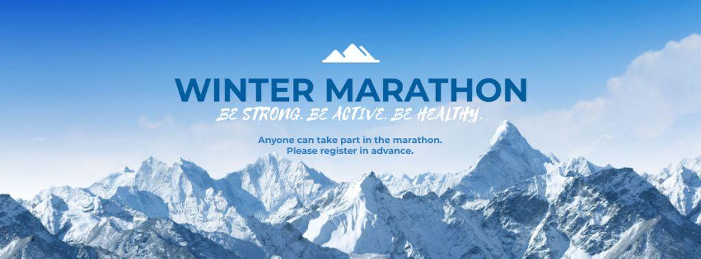 Winter Marathon Announcement with Snowy Mountains — Modelo de projeto