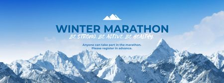 Winter Marathon Announcement with Snowy Mountains Facebook cover – шаблон для дизайну