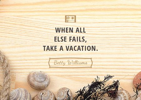 Travel inspiration with Shells on wooden background Postcardデザインテンプレート