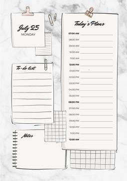 Schedule Planner with Paper Clips