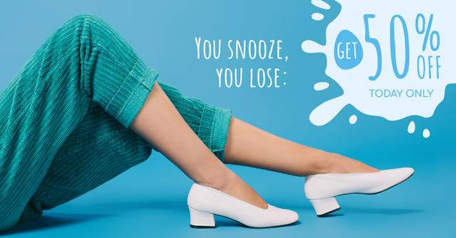 Shoes Store Female Legs in Heeled Shoes Facebook AD Design Template