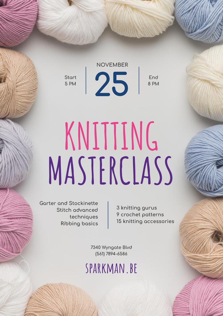 Knitting Masterclass Invitation with Wool Yarn Skeins — ein Design erstellen