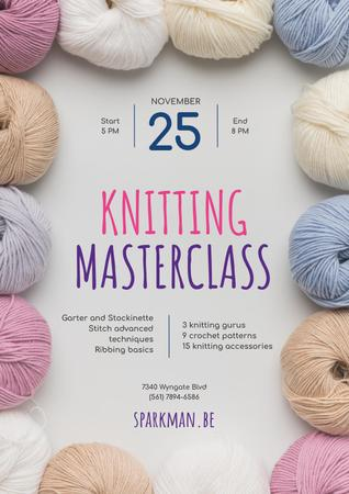 Knitting Masterclass Invitation with Wool Yarn Skeins Posterデザインテンプレート