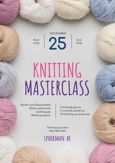 Knitting Masterclass Invitation with Wool Yarn Skeins Poster Tasarım Şablonu