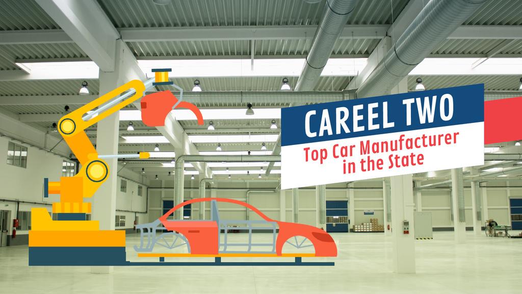 Car Manufacture Robot Assembling Car at Factory — Create a Design