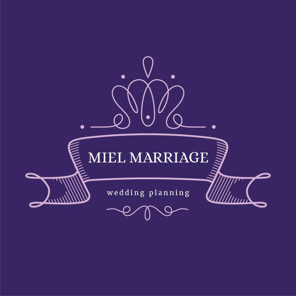 Wedding Agency Ad Elegant Ribbon in Purple | Logo Template — Создать дизайн