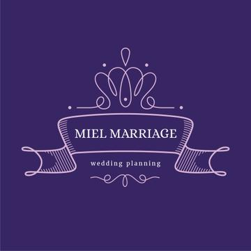 Wedding Agency Ad Elegant Ribbon in Purple | Logo Template