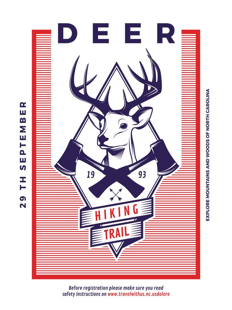 Hiking Trail Ad Deer Icon in Red — Create a Design