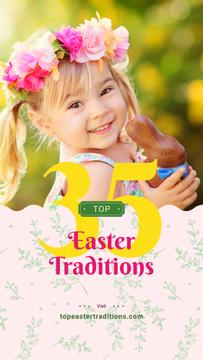 Girl with chocolate bunny on Easter