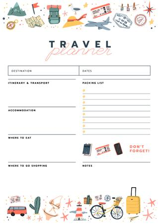 Travel Planner with Travelling icons Schedule Planner Modelo de Design