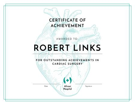 Cardiac Surgery achievements recognition Certificate – шаблон для дизайна