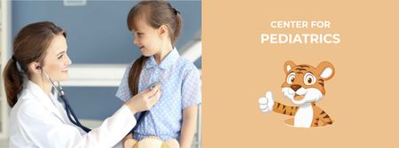 Ontwerpsjabloon van Facebook cover van Children's Hospital Ad Pediatrician Examining Child