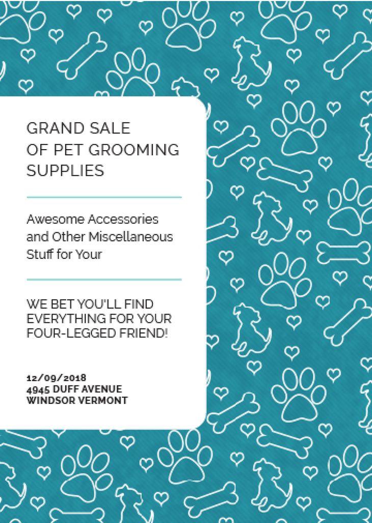 Pet Grooming Supplies Sale with animals icons — Создать дизайн