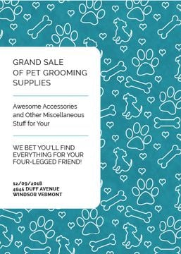 Pet Grooming Supplies Sale with animals icons