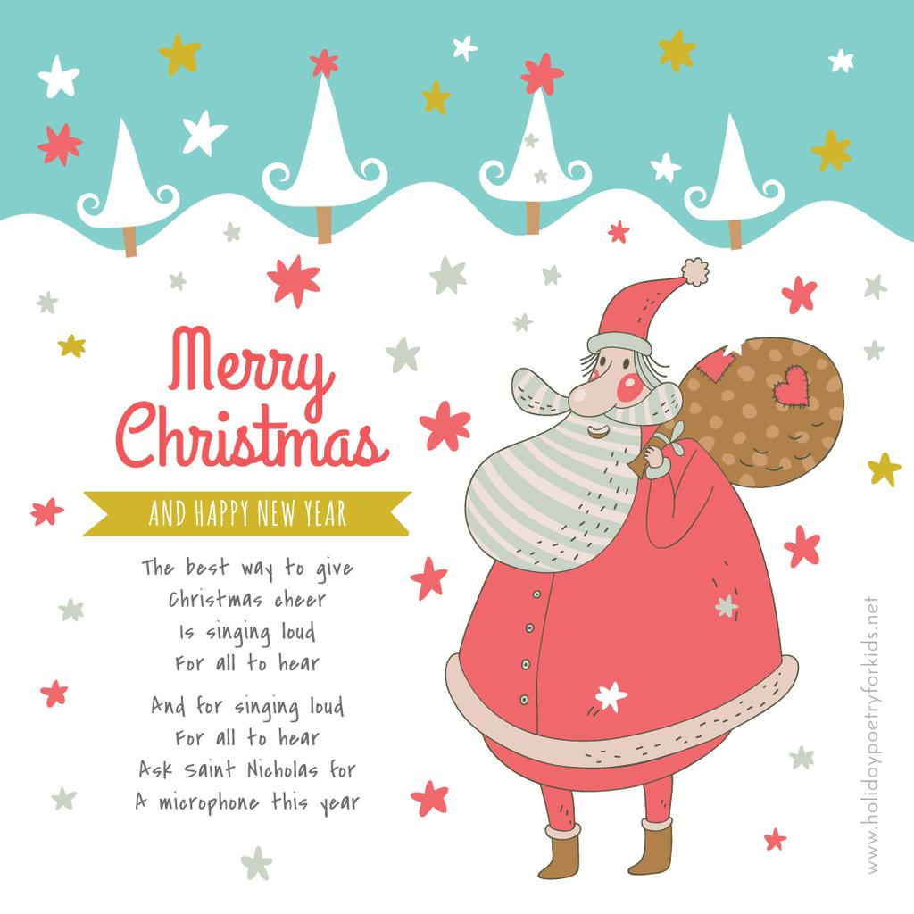 Christmas Holiday greeting Santa delivering Gifts — Create a Design