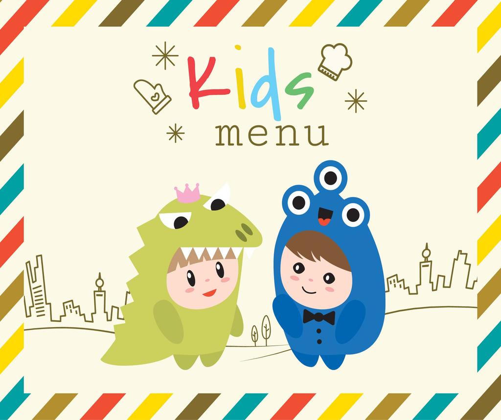 Kids menu offer with Children in costumes — Modelo de projeto