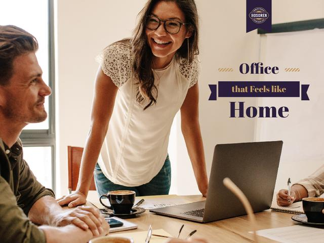 Plantilla de diseño de Businesspeople in Cozy Workplace Presentation