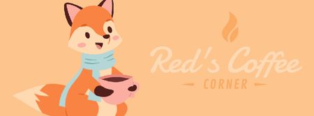 Template di design Red fox drinking coffee Facebook Video cover