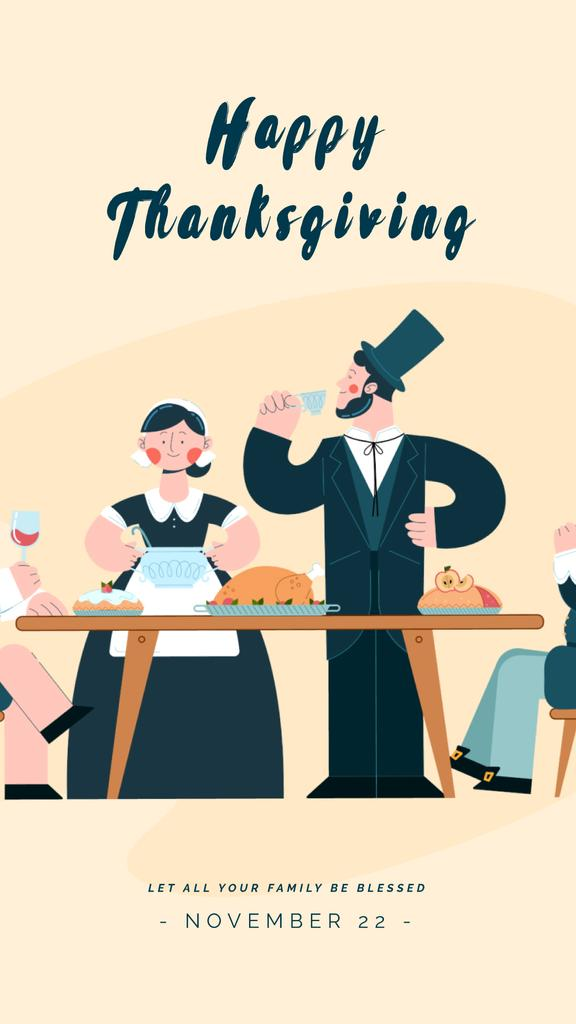 Pilgrims Having Thanksgiving Dinner | Vertical Video Template — Crear un diseño