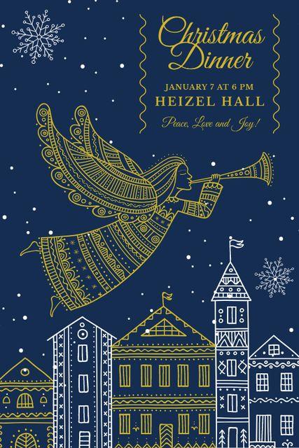 Christmas Dinner Invitation Angel Flying over City Tumblr – шаблон для дизайна