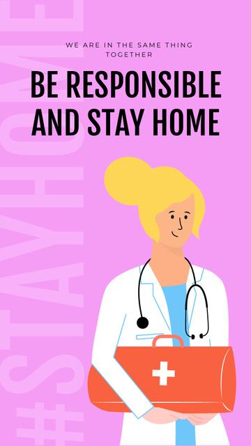 Plantilla de diseño de #Stayhome Coronavirus awareness with friendly Doctor Instagram Story