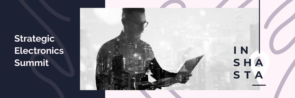 Double exposure of businessman and city — Create a Design