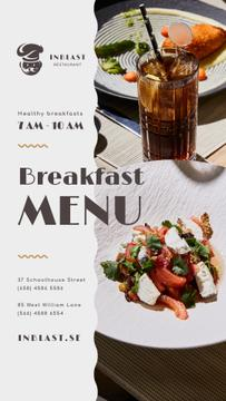 Breakfast Menu Offer with Greens and Vegetables