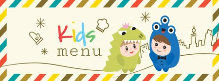Kids menu offer with Children in costumes Facebook cover Modelo de Design