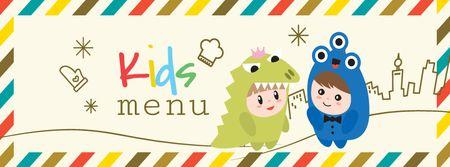 Plantilla de diseño de Kids menu offer with Children in costumes Facebook cover
