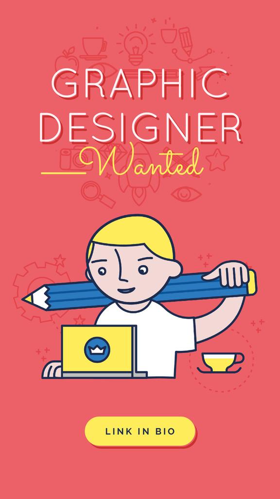 Graphic Designer Working on Laptop in Red — Crear un diseño