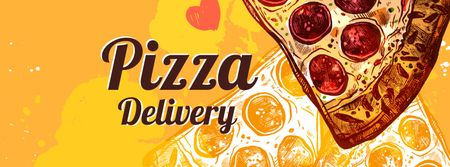 Modèle de visuel Pizza delivery service with tasty slice - Facebook cover
