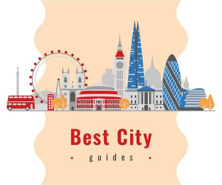 Designvorlage London City Attractions für Medium Rectangle