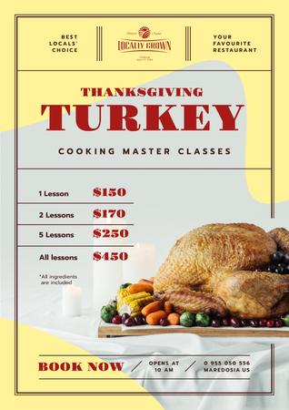 Ontwerpsjabloon van Poster van Thanksgiving Dinner Masterclass Invitation with Roasted Turkey