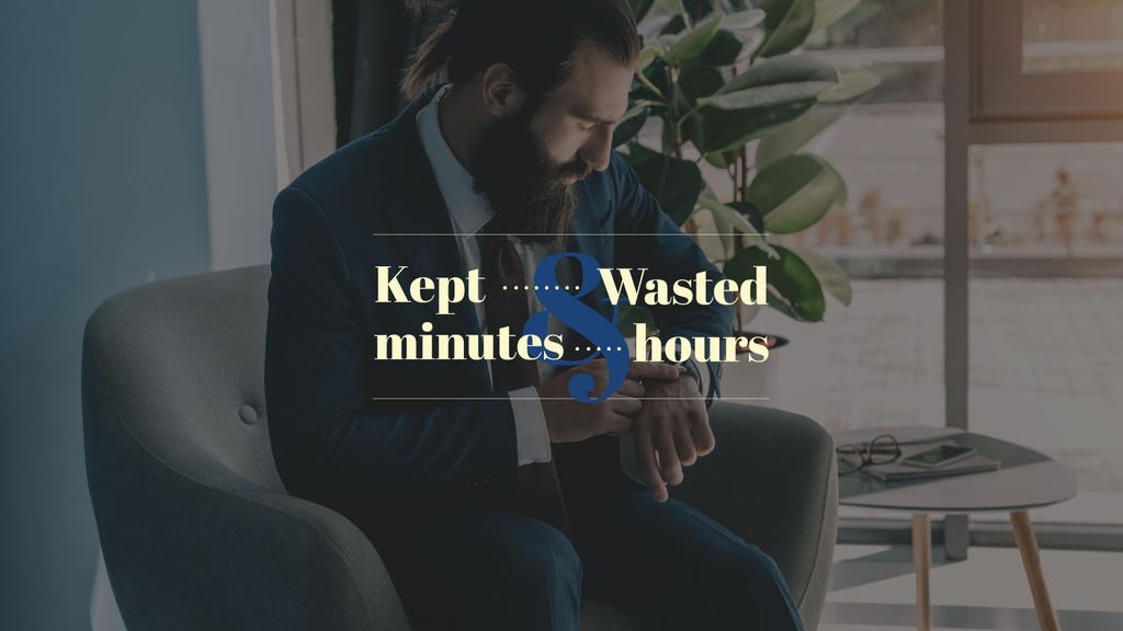 Businessman looking on watches — Modelo de projeto