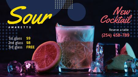 Template di design Cocktail Offer Glass with Drink and Citrus Title
