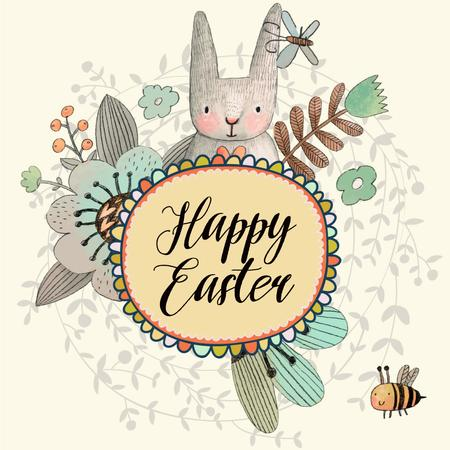 Plantilla de diseño de Cartoon Easter bunny with flowers Animated Post