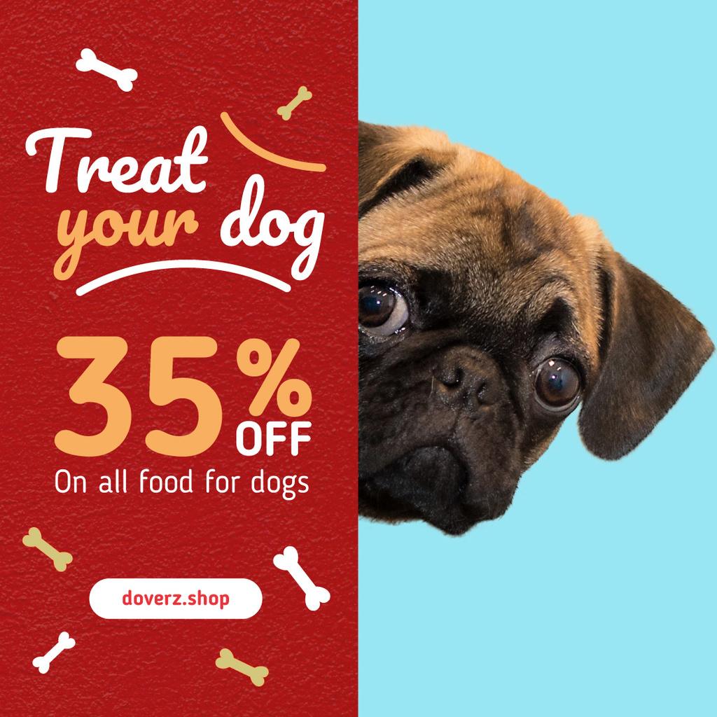 Dog Food Sale Cute Pug Face — Modelo de projeto