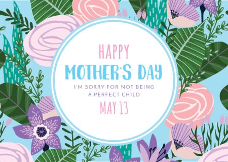 Happy Mother's Day Greeting on Bright Flowers Postcard – шаблон для дизайна