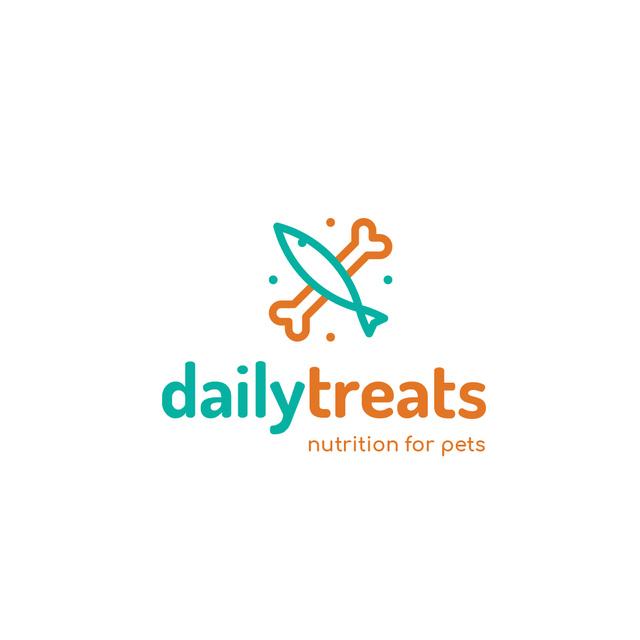 Plantilla de diseño de Pet Food with Bone and Fish Icon Logo
