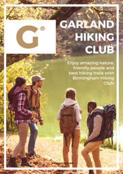 Hiking club Ad with people by the river