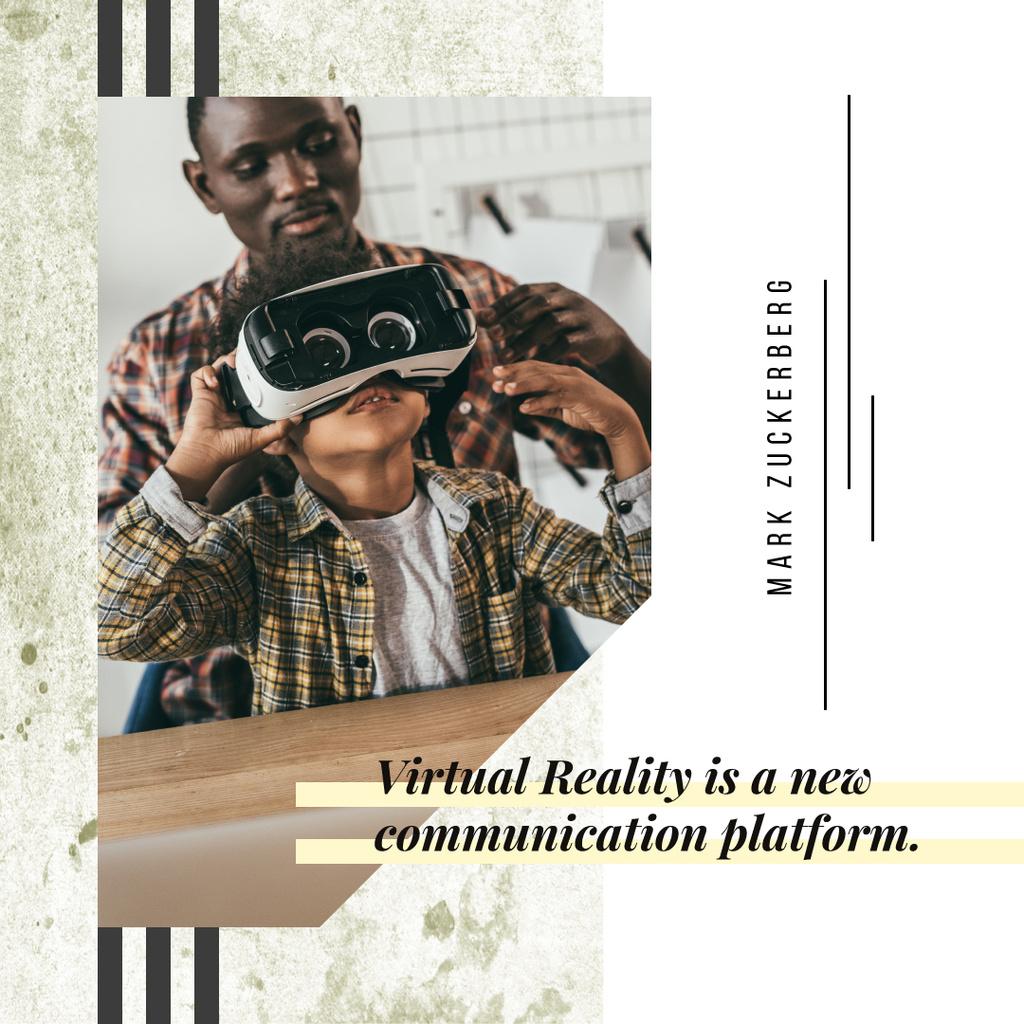 Dad and son using vr glasses — Modelo de projeto